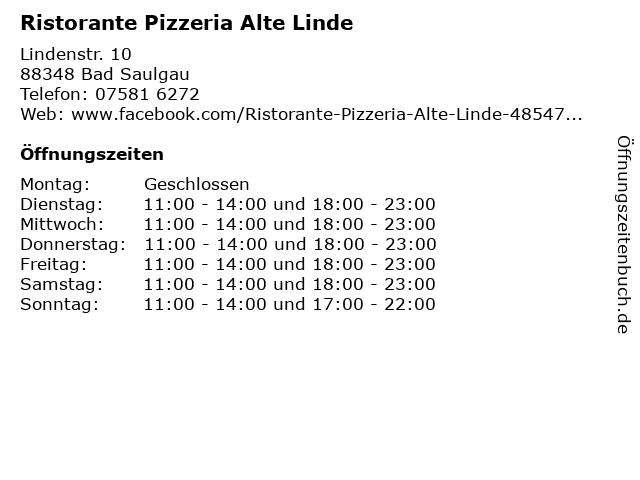 Ristorante Pizzeria Alte Linde in Bad Saulgau: Adresse und Öffnungszeiten