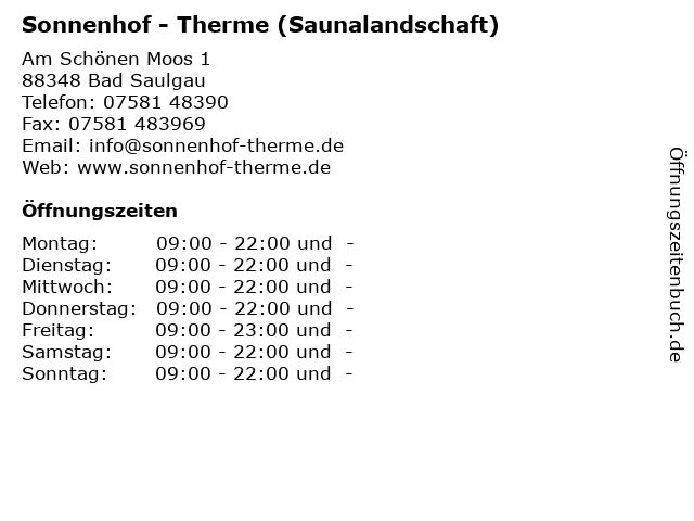 Sonnenhof - Therme (Saunalandschaft) in Bad Saulgau: Adresse und Öffnungszeiten