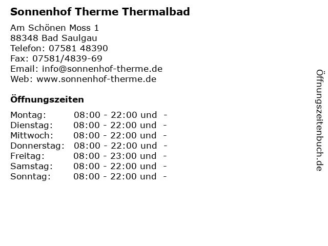 Sonnenhof Therme Thermalbad in Bad Saulgau: Adresse und Öffnungszeiten