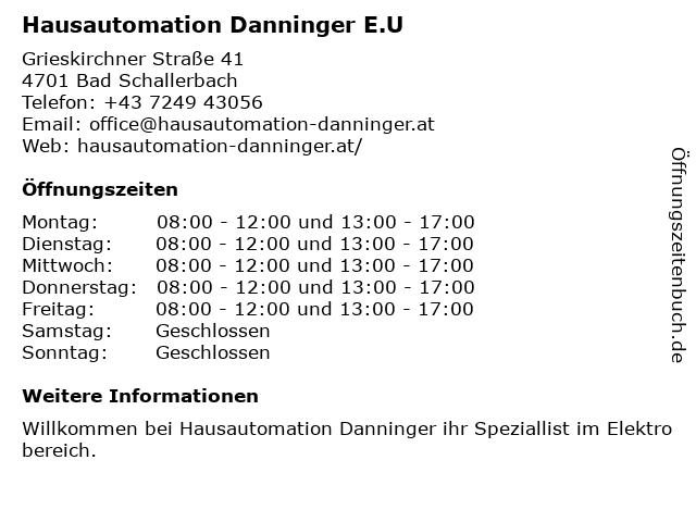 Hausautomation Danninger E.U in Bad Schallerbach: Adresse und Öffnungszeiten