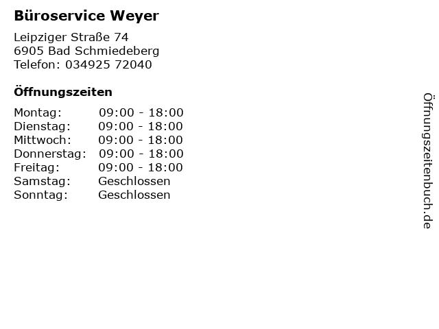 Büroservice Weyer in Bad Schmiedeberg: Adresse und Öffnungszeiten