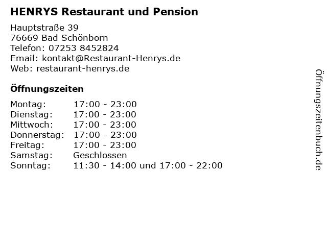 HENRYS Restaurant und Pension in Bad Schönborn: Adresse und Öffnungszeiten