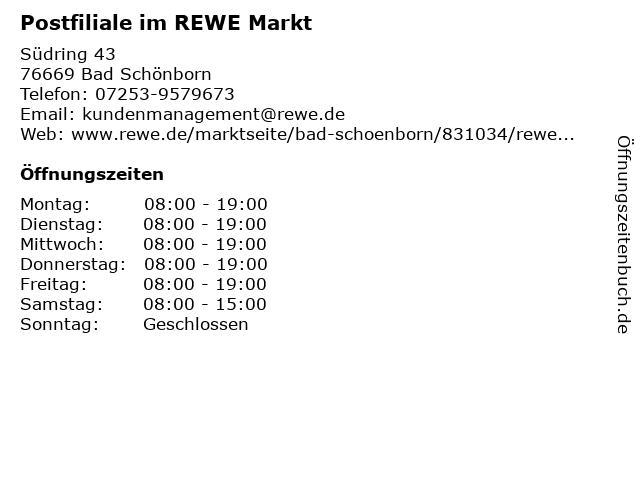 Postfiliale im REWE Markt in Bad Schönborn: Adresse und Öffnungszeiten