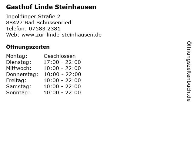 Gasthof Linde Steinhausen in Bad Schussenried: Adresse und Öffnungszeiten