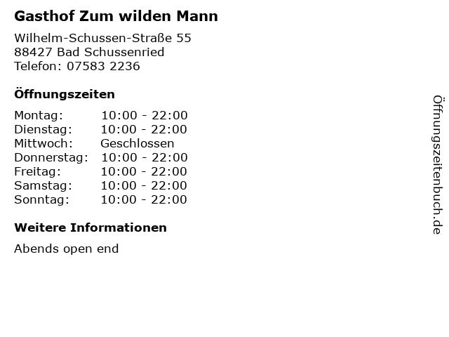 Gasthof Zum wilden Mann in Bad Schussenried: Adresse und Öffnungszeiten