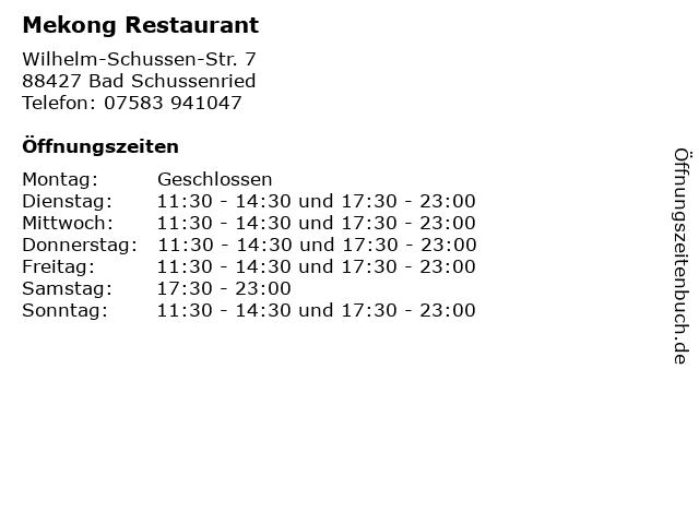 Mekong Restaurant in Bad Schussenried: Adresse und Öffnungszeiten
