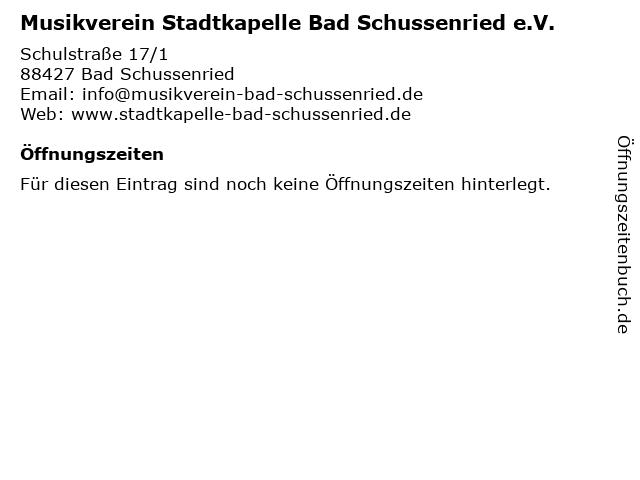 Musikverein Stadtkapelle Bad Schussenried e.V. in Bad Schussenried: Adresse und Öffnungszeiten