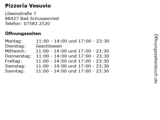 Pizzeria Vesuvio in Bad Schussenried: Adresse und Öffnungszeiten