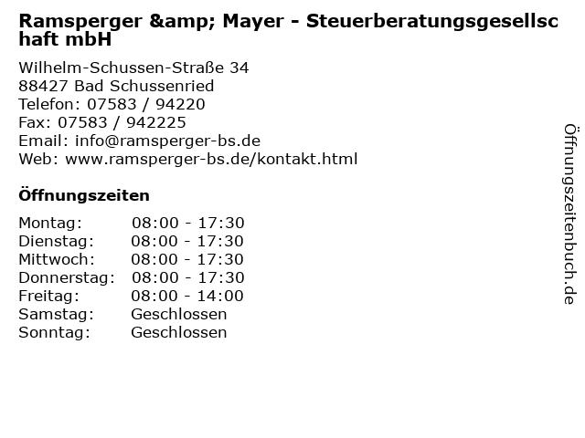 Ramsperger & Mayer - Steuerberatungsgesellschaft mbH in Bad Schussenried: Adresse und Öffnungszeiten