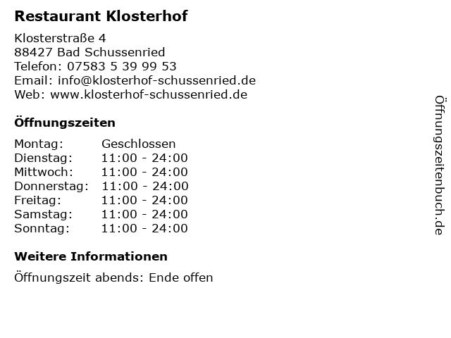 Restaurant Klosterhof in Bad Schussenried: Adresse und Öffnungszeiten