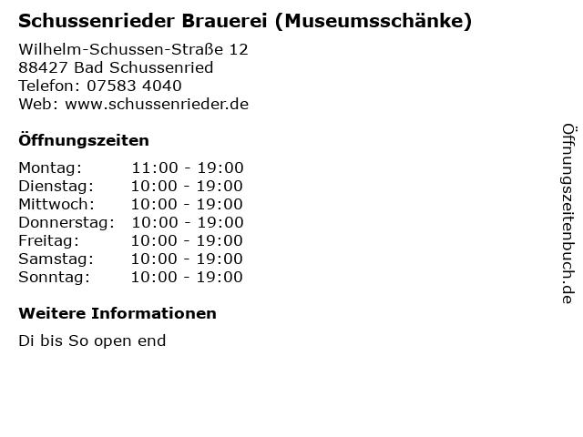 Schussenrieder Brauerei (Museumsschänke) in Bad Schussenried: Adresse und Öffnungszeiten