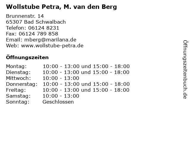 Wollstube Petra, M. van den Berg in Bad Schwalbach: Adresse und Öffnungszeiten