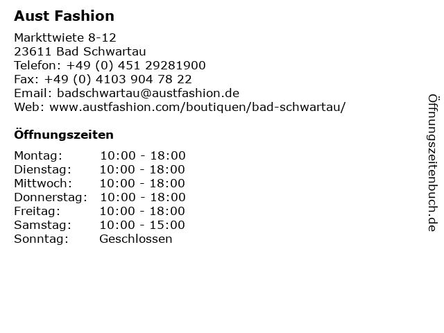 Aust Fashion in Bad Schwartau: Adresse und Öffnungszeiten