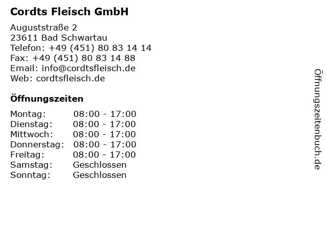 Cordts Fleisch GmbH in Bad Schwartau: Adresse und Öffnungszeiten