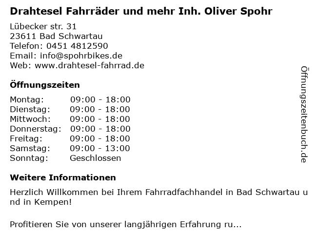 Drahtesel Fahrräder und mehr Inh. Oliver Spohr in Bad Schwartau: Adresse und Öffnungszeiten