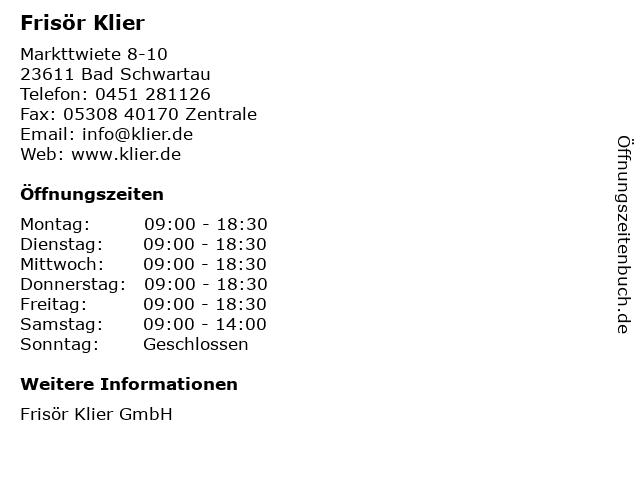Frisör Klier in Bad Schwartau: Adresse und Öffnungszeiten
