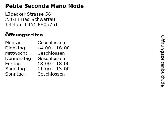 Petite Seconda Mano Mode in Bad Schwartau: Adresse und Öffnungszeiten