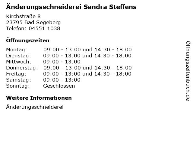 Änderungsschneiderei Sandra Steffens in Bad Segeberg: Adresse und Öffnungszeiten