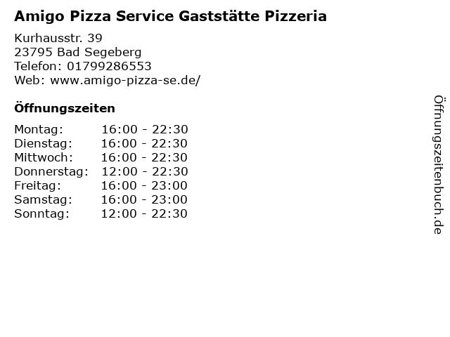 Amigo Pizza Service Gaststätte Pizzeria in Bad Segeberg: Adresse und Öffnungszeiten