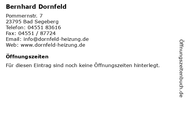 Bernhard Dornfeld in Bad Segeberg: Adresse und Öffnungszeiten