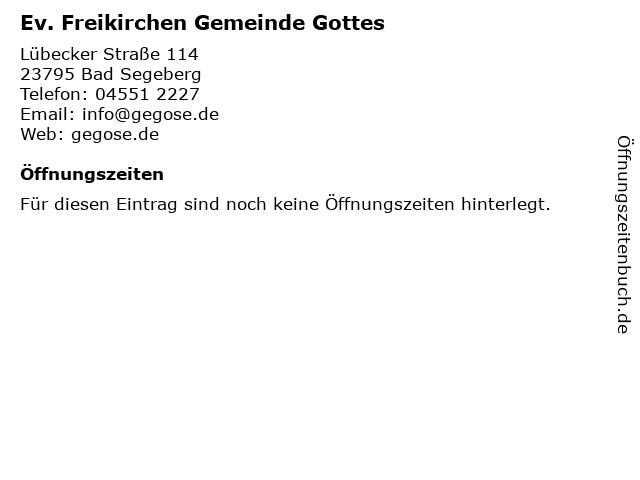 Ev. Freikirchen Gemeinde Gottes in Bad Segeberg: Adresse und Öffnungszeiten