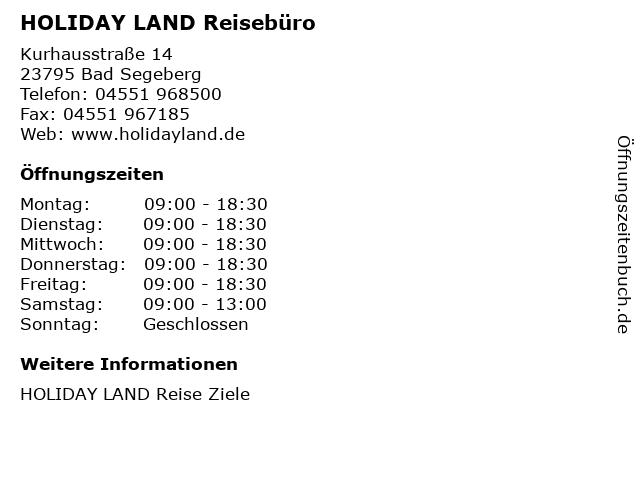 HOLIDAY LAND Reisebüro in Bad Segeberg: Adresse und Öffnungszeiten
