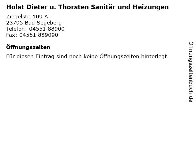 Holst Dieter u. Thorsten Sanitär und Heizungen in Bad Segeberg: Adresse und Öffnungszeiten