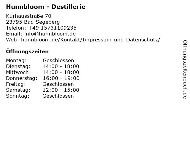 Hunnbloom - Destillerie in Bad Segeberg: Adresse und Öffnungszeiten