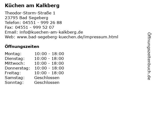 Küchen am Kalkberg in Bad Segeberg: Adresse und Öffnungszeiten