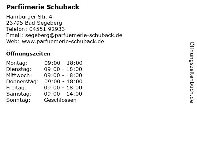 Parfümerie Schuback in Bad Segeberg: Adresse und Öffnungszeiten