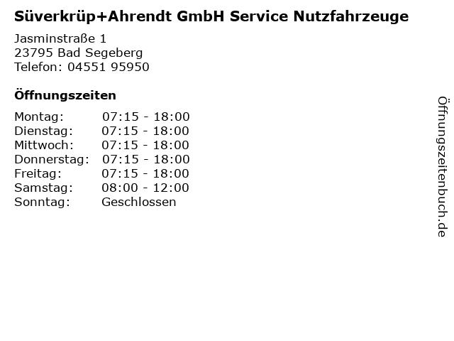 Süverkrüp+Ahrendt GmbH Service Nutzfahrzeuge in Bad Segeberg: Adresse und Öffnungszeiten