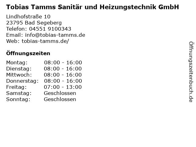 Tobias Tamms Sanitär und Heizungstechnik GmbH in Bad Segeberg: Adresse und Öffnungszeiten