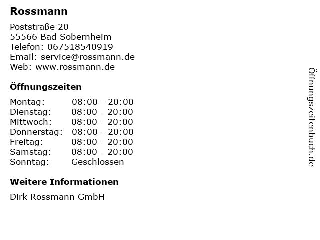 Rossmann in Bad Sobernheim: Adresse und Öffnungszeiten