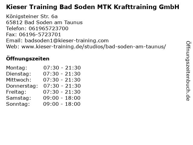 Kieser Training Bad Soden MTK Krafttraining GmbH in Bad Soden am Taunus: Adresse und Öffnungszeiten
