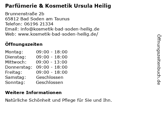 Parfümerie/Kosmetik Ursula Heilig in Bad Soden: Adresse und Öffnungszeiten