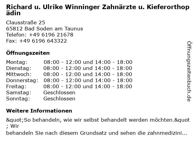 Richard u. Ulrike Winninger Zahnärzte u. Kieferorthopädin in Bad Soden am Taunus: Adresse und Öffnungszeiten