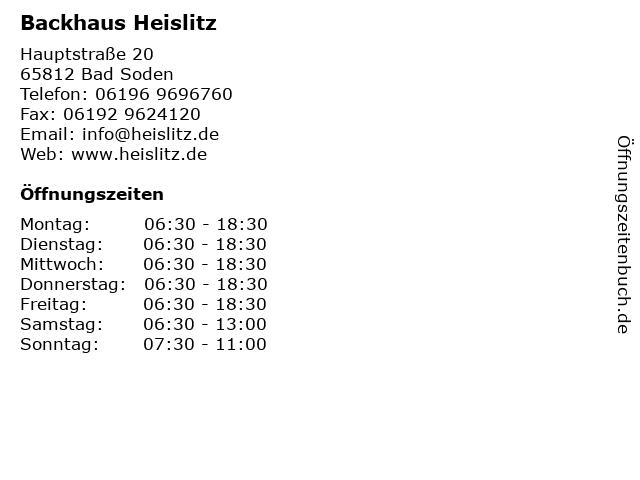 Backhaus Heislitz in Bad Soden: Adresse und Öffnungszeiten