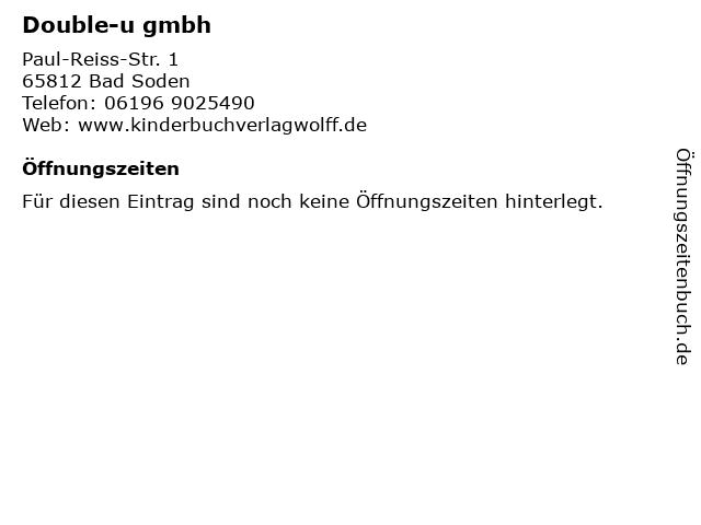 Double-u gmbh in Bad Soden: Adresse und Öffnungszeiten