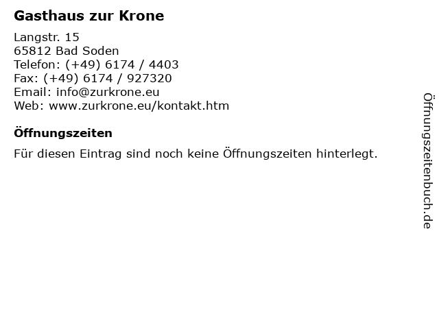 Gasthaus zur Krone in Bad Soden: Adresse und Öffnungszeiten
