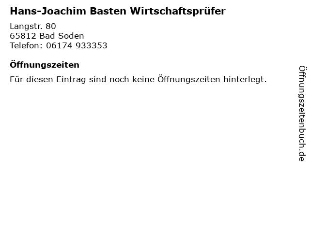Hans-Joachim Basten Wirtschaftsprüfer in Bad Soden: Adresse und Öffnungszeiten