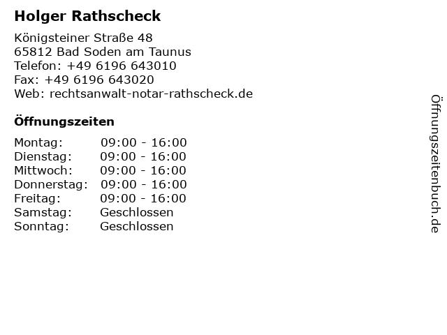Heinz G. Kohnert & Kollegen Notar und Rechtsanwälte in Bad Soden: Adresse und Öffnungszeiten