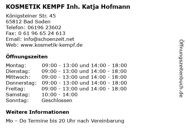KOSMETIK KEMPF Inh. Katja Hofmann in Bad Soden: Adresse und Öffnungszeiten