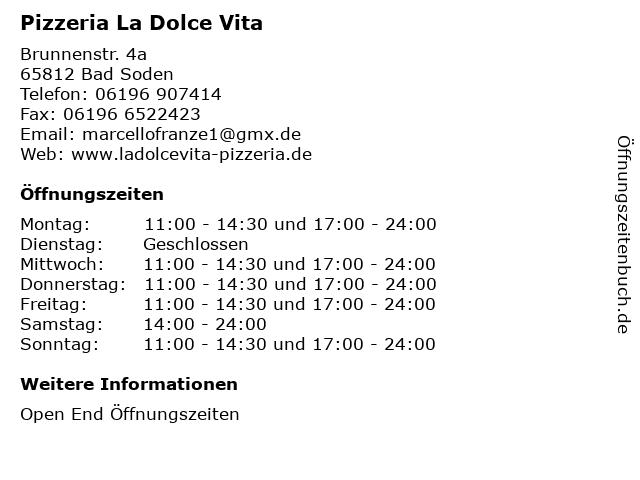 Pizzeria La Dolce Vita in Bad Soden: Adresse und Öffnungszeiten