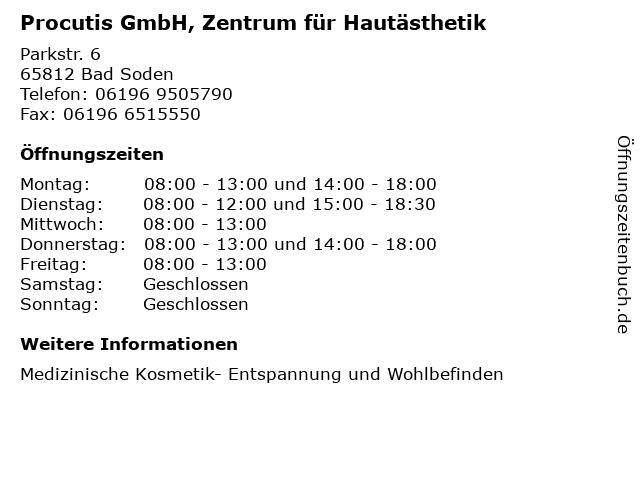 Procutis GmbH, Zentrum für Hautästhetik in Bad Soden: Adresse und Öffnungszeiten