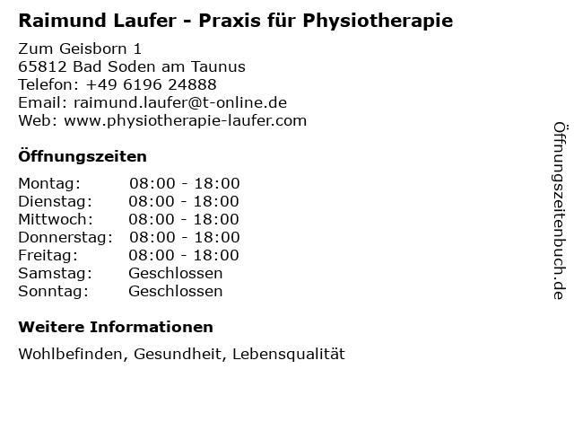 Raimund Laufer Krankengymnastikpraxis in Bad Soden: Adresse und Öffnungszeiten