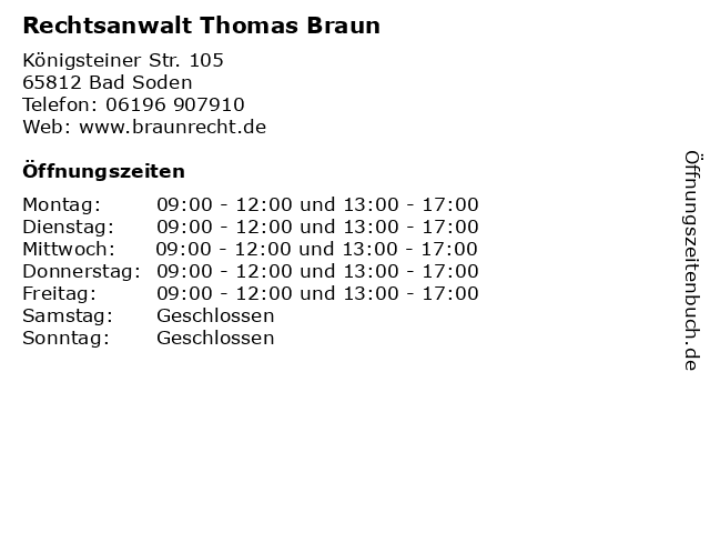 Rechtsanwalt Thomas Braun in Bad Soden: Adresse und Öffnungszeiten