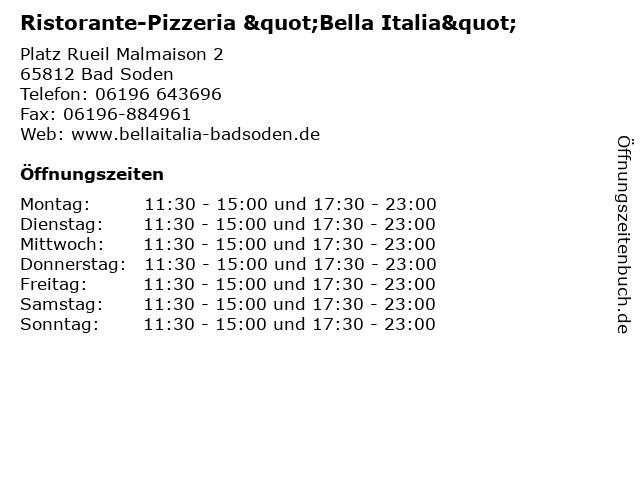 """Ristorante-Pizzeria """"Bella Italia"""" in Bad Soden: Adresse und Öffnungszeiten"""