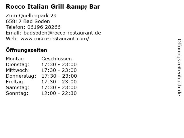 Rocco Italian Grill & Bar in Bad Soden: Adresse und Öffnungszeiten