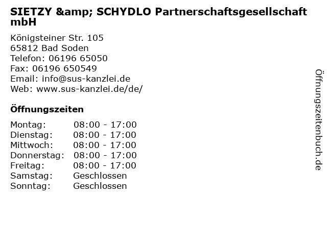 SIETZY & SCHYDLO Partnerschaftsgesellschaft mbH in Bad Soden: Adresse und Öffnungszeiten