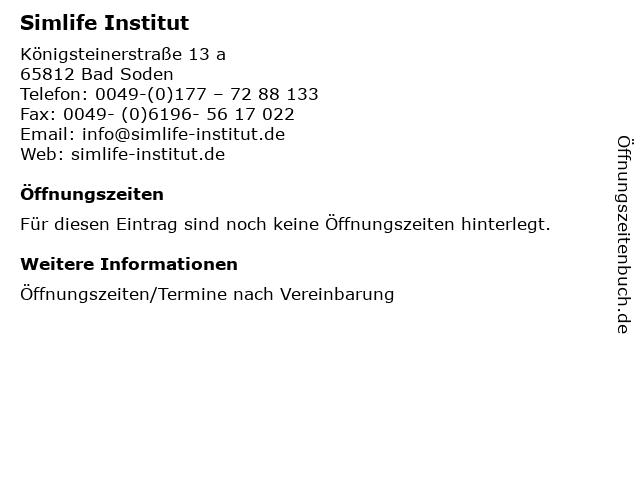 Simlife Institut in Bad Soden: Adresse und Öffnungszeiten